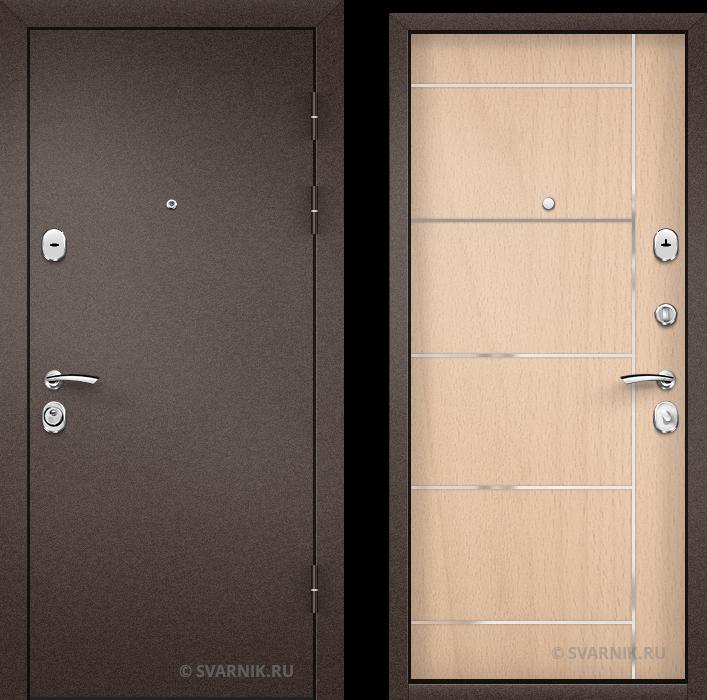 Дверь металлическая антивандальная в коттедж порошковая - ламинат