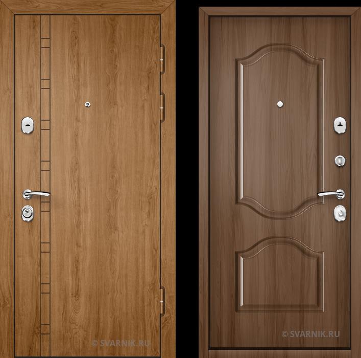 Дверь входная антивандальная в коттедж шпон - массив