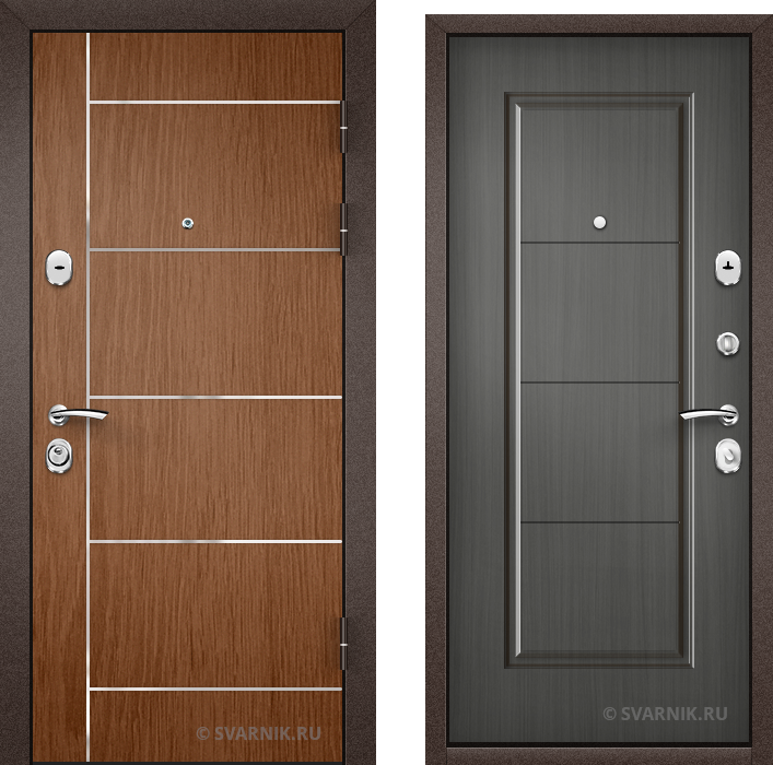 Дверь металлическая антивандальная в коттедж ламинат - шпон