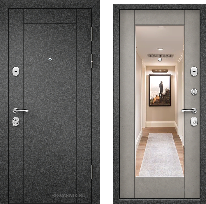Дверь входная накладная в квартиру порошковая - МДФ